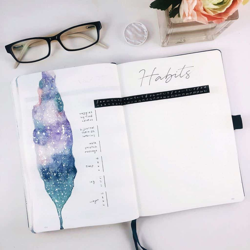 Space and Galaxy Bullet Journal Theme Inspirations - habit tracker by @_coffeeandsarcasm_ | Masha Plans
