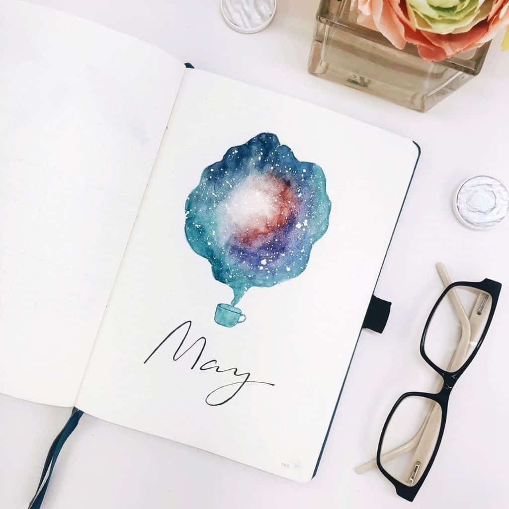 Space and Galaxy Bullet Journal Theme Inspirations - cover page by @_coffeeandsarcasm_ | Masha Plans