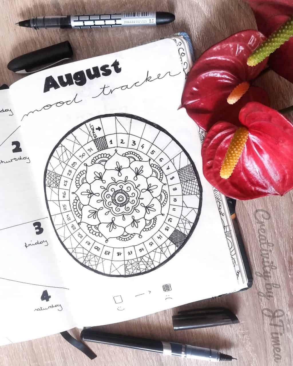 Mandala Bullet Journal Mood Tracker by @creativitybyjtimea | Masha Plans