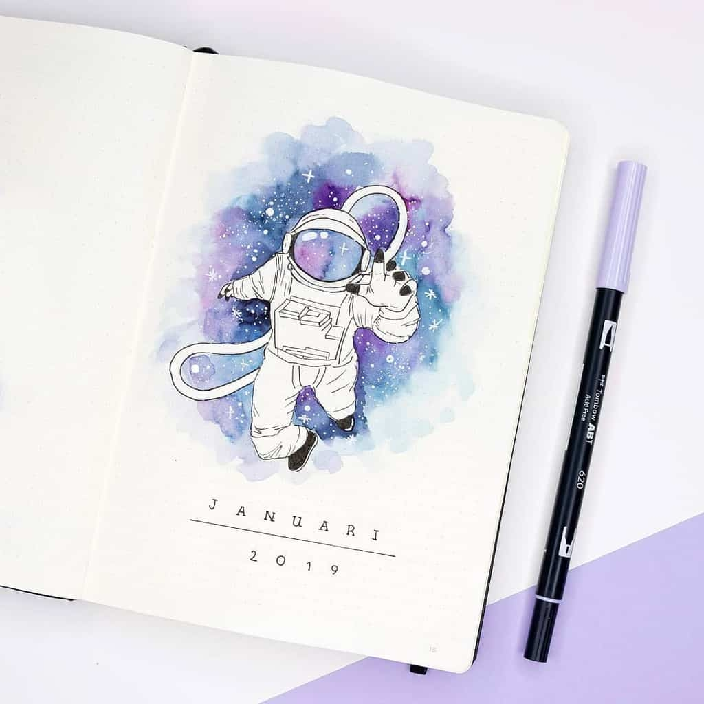 Space and Galaxy Bullet Journal Theme Inspirations - cover page by @dutch_dots | Masha Plans