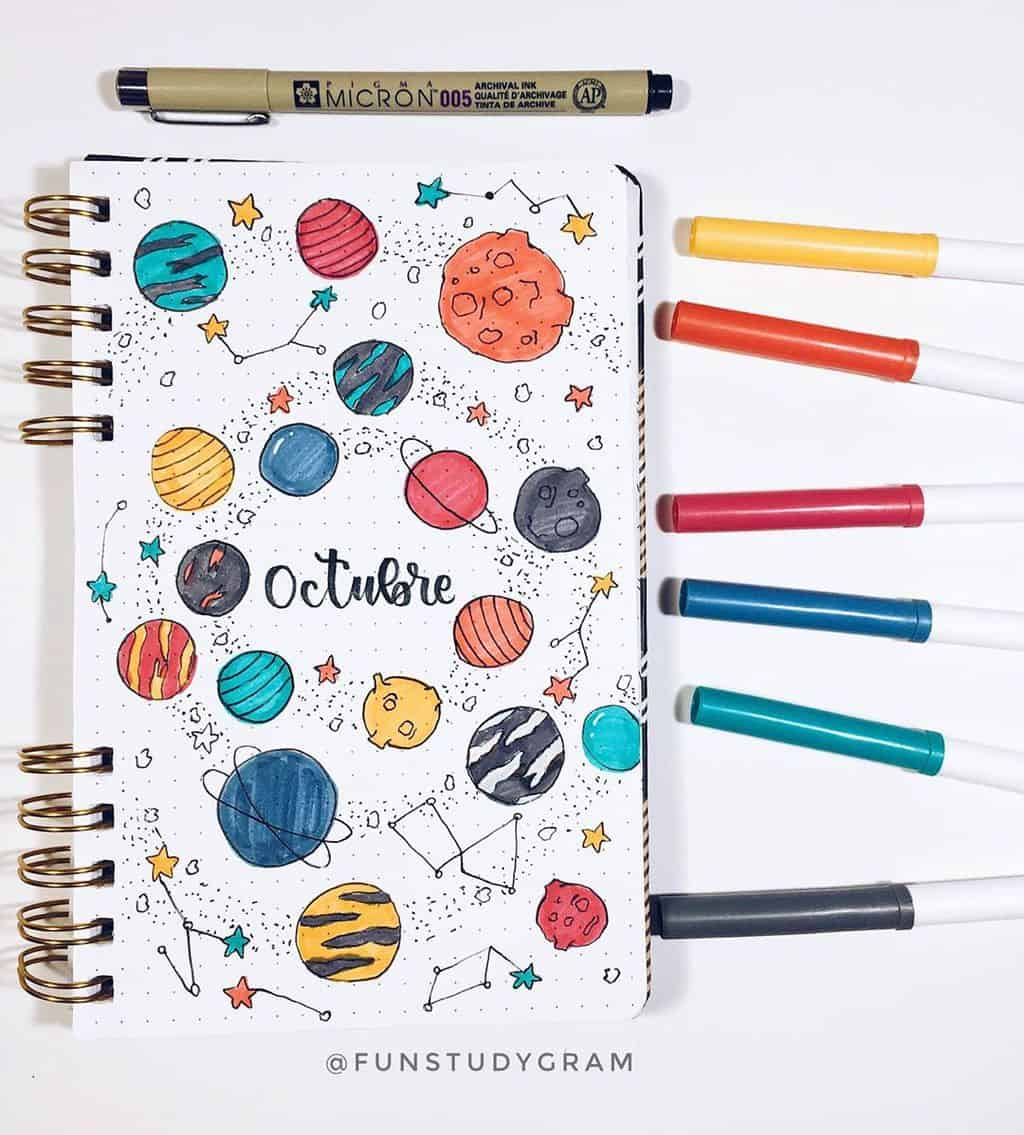 Space and Galaxy Bullet Journal Theme Inspirations - cover page by @funstudygram | Masha Plans