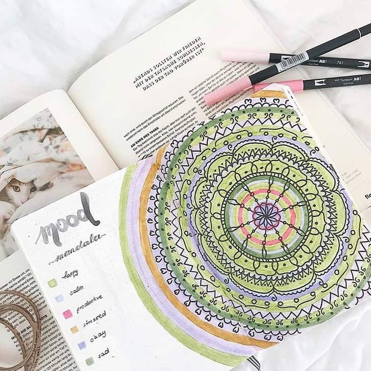 Mandala Bullet Journal Mood Tracker by @happy.honeybee | Masha Plans