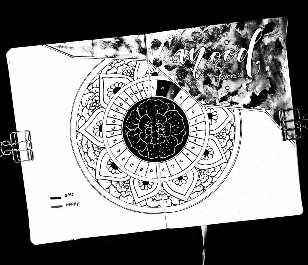 Mandala Bullet Journal Mood Tracker by @happyfishbujo | Masha Plans