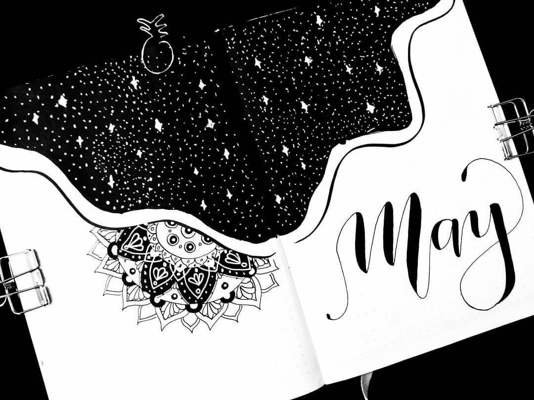 Mandala Bullet Journal Cover Page by @happyfishbujo | Masha Plans