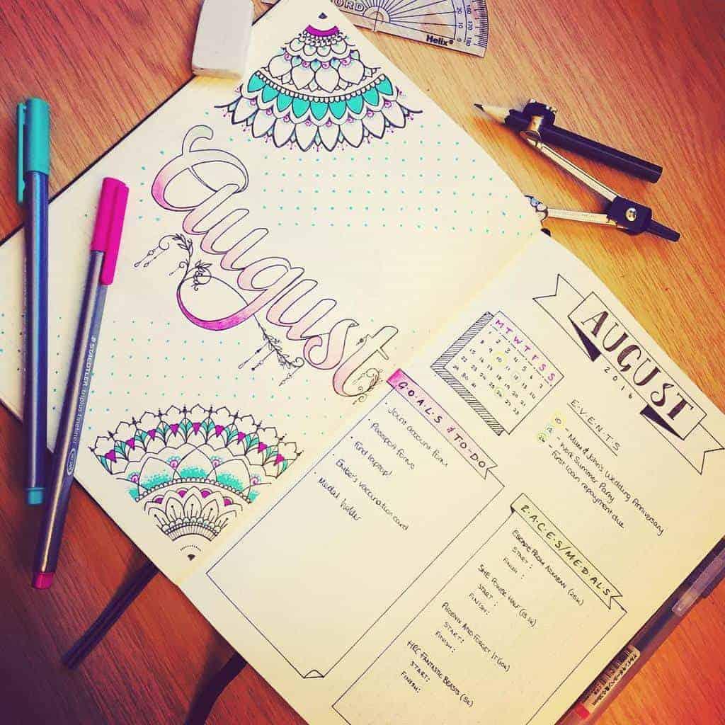 Mandala Bullet Journal Monthly Log by @happyplanner13 | Masha Plans