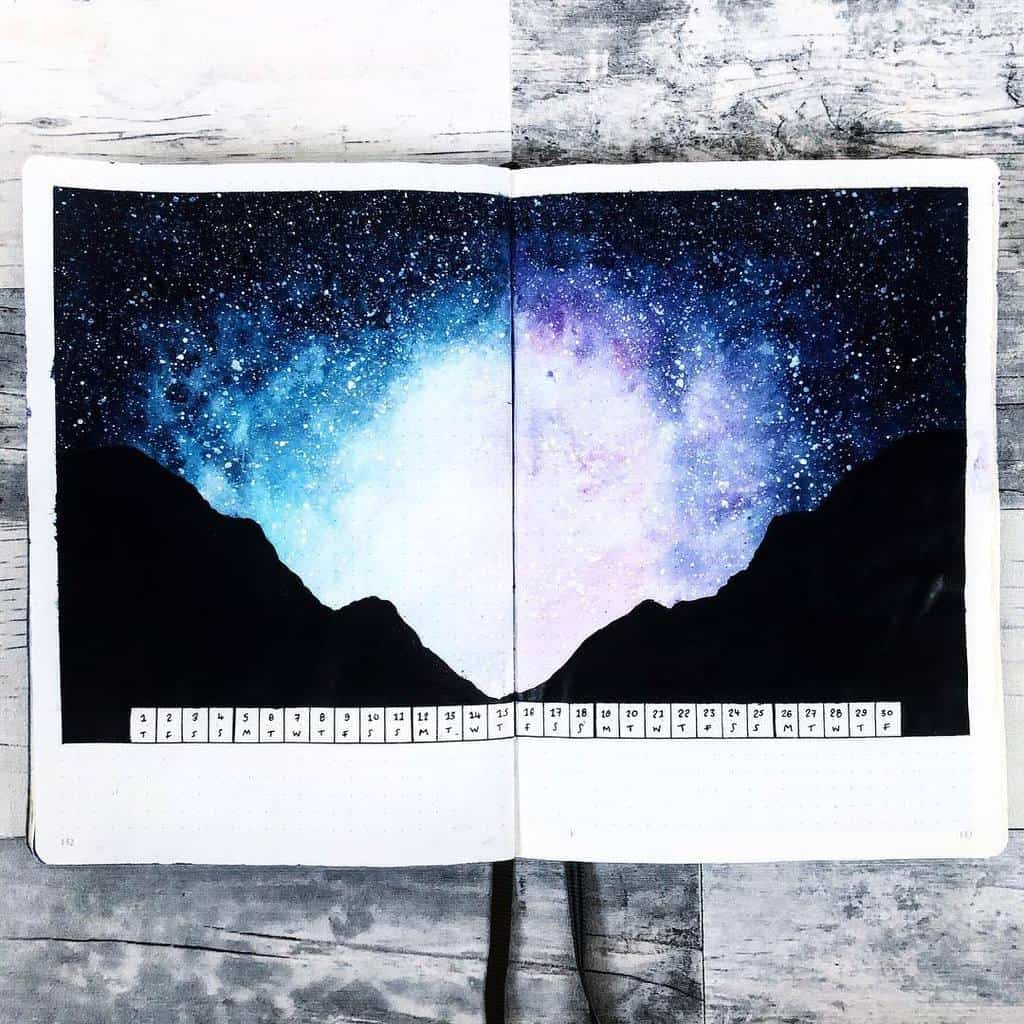 Space and Galaxy Bullet Journal Theme Inspirations - monthly log by @hayleyremdeart | Masha Plans