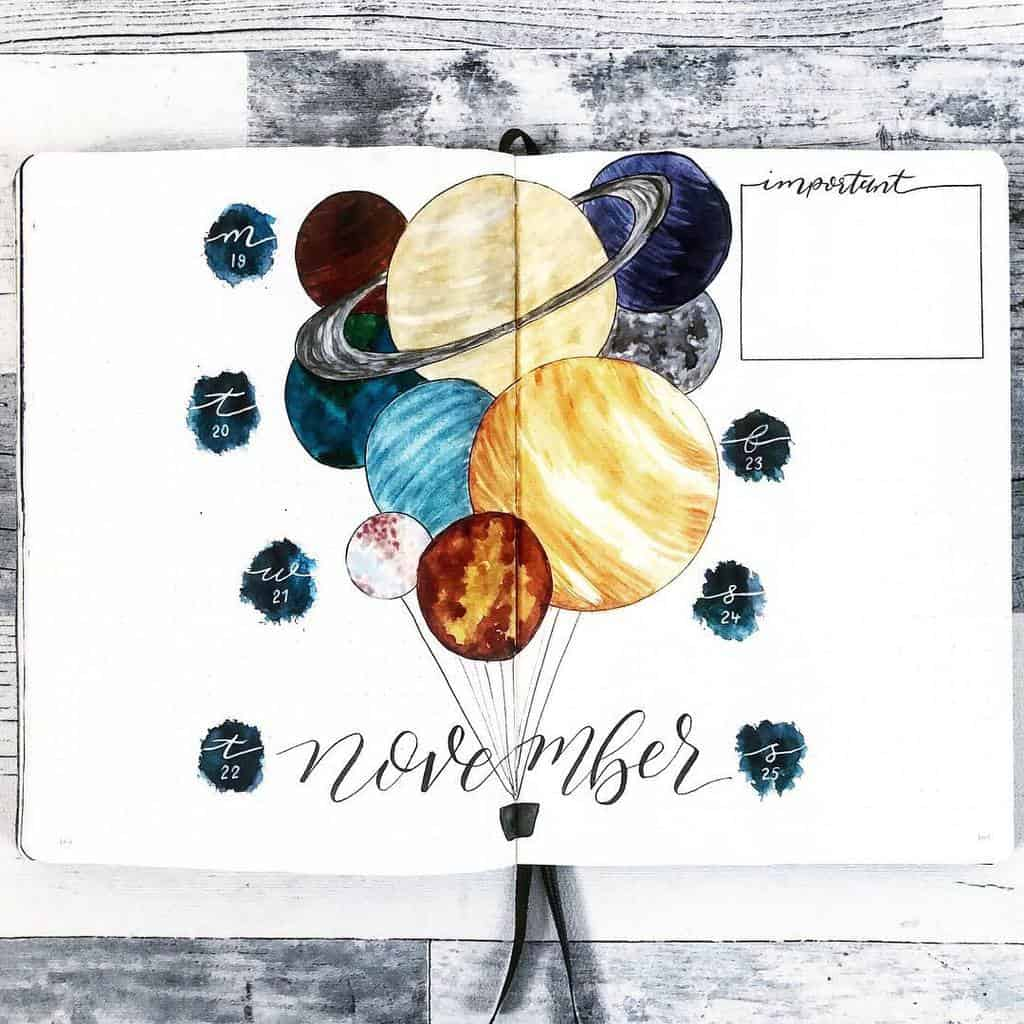 Space and Galaxy Bullet Journal Theme Inspirations - weekly spread by @hayleyremdeart | Masha Plans