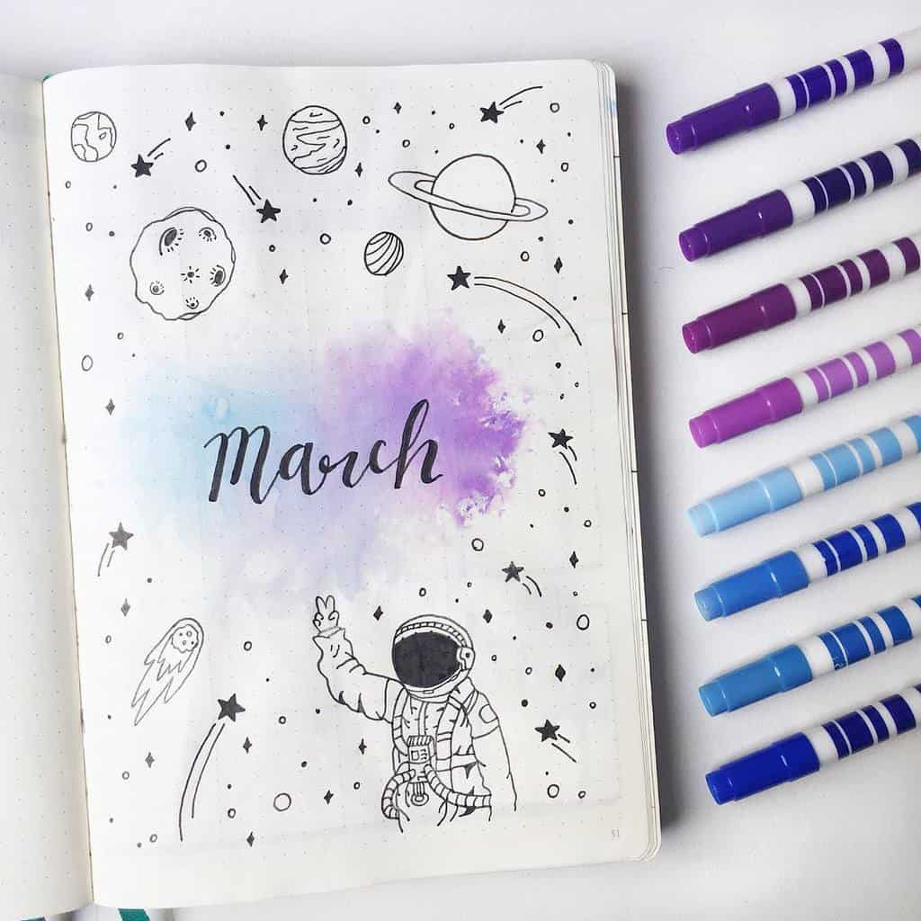Space and Galaxy Bullet Journal Theme Inspirations - cover page by @in.a.bullet.journey | Masha Plans