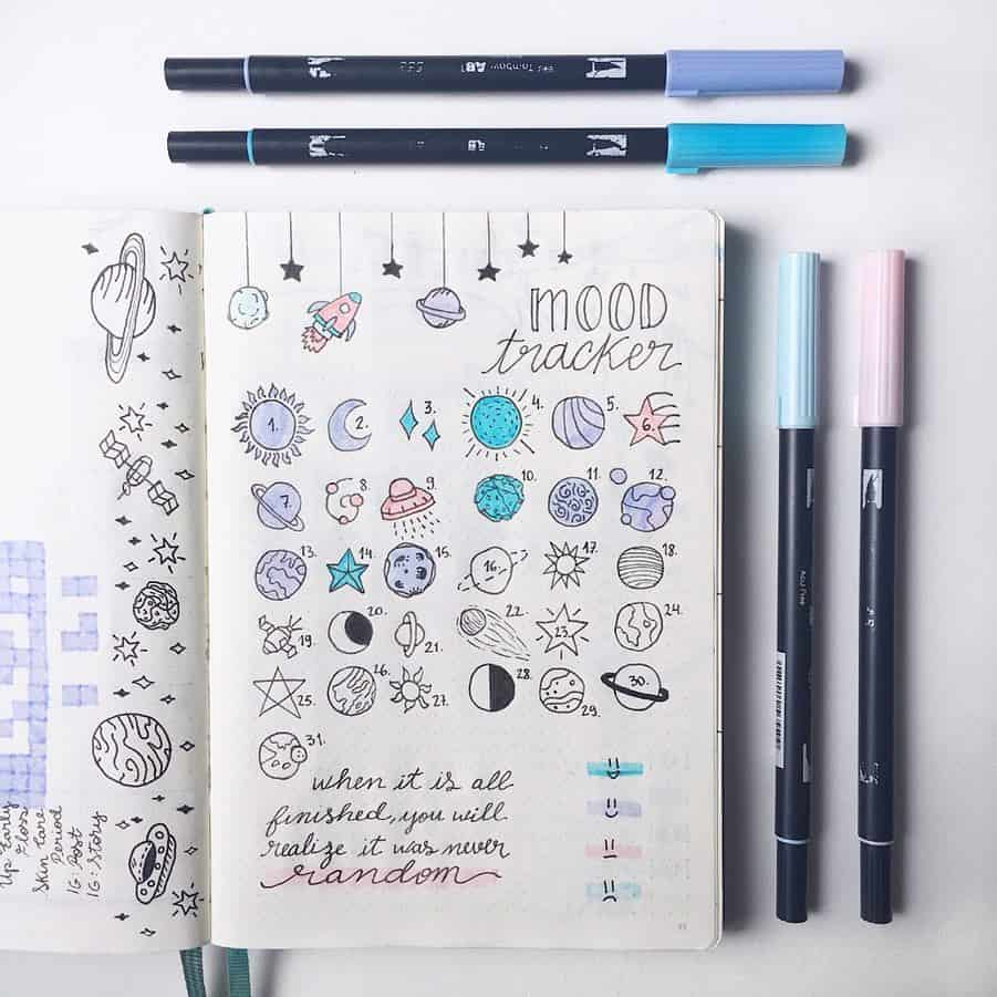 Space and Galaxy Bullet Journal Theme Inspirations - tracker by @in.a.bullet.journey | Masha Plans