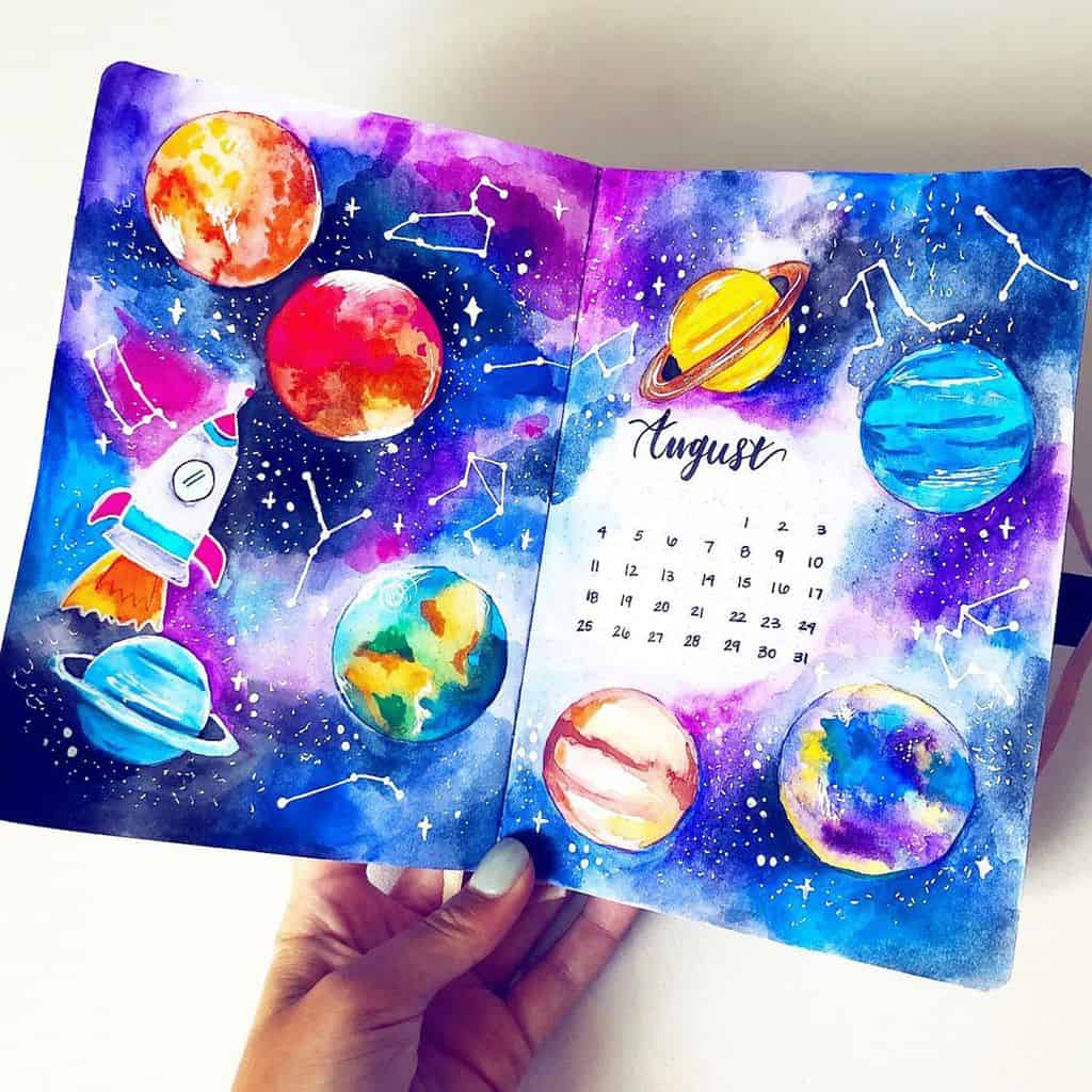 Space and Galaxy Bullet Journal Theme Inspirations - cover page by @kaylandoodles | Masha Plans