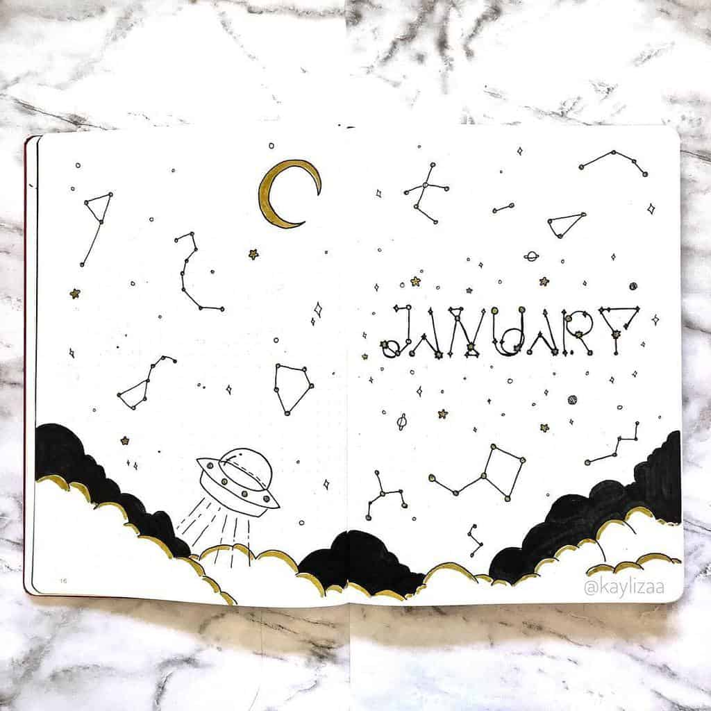 Space and Galaxy Bullet Journal Theme Inspirations - cover page by @kaylizaa | Masha Plans