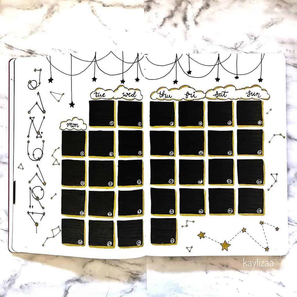 Space and Galaxy Bullet Journal Theme Inspirations - monthly log by @kaylizaa | Masha Plans