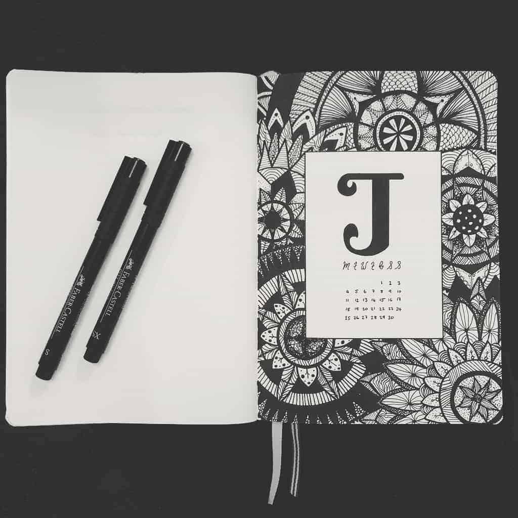 Mandala Bullet Journal Cover Page by @krystleloubujo | Masha Plans