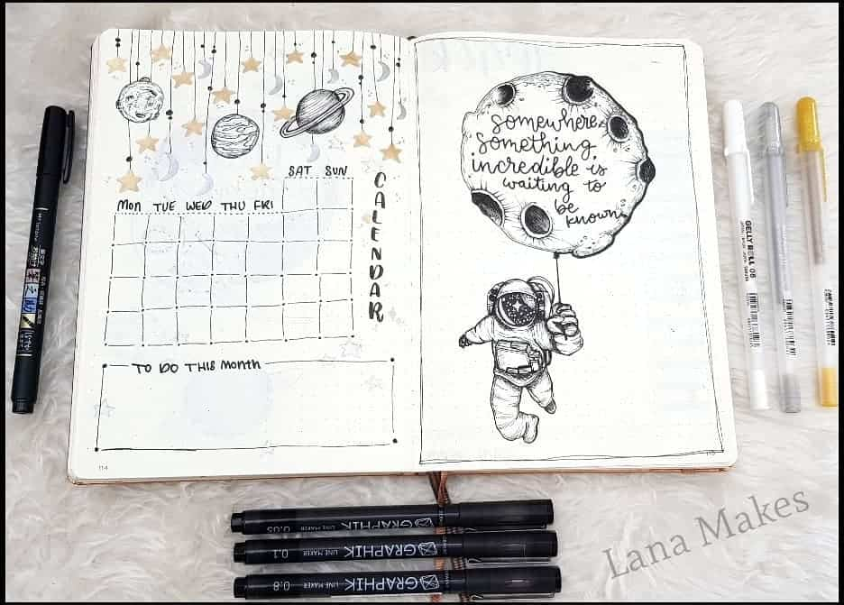 Space and Galaxy Bullet Journal Theme Inspirations - monthly log by @lana_makes | Masha Plans