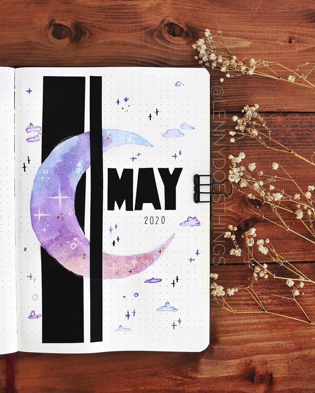 Space and Galaxy Bullet Journal Theme Inspirations - cover page by @lennydoesthings | Masha Plans