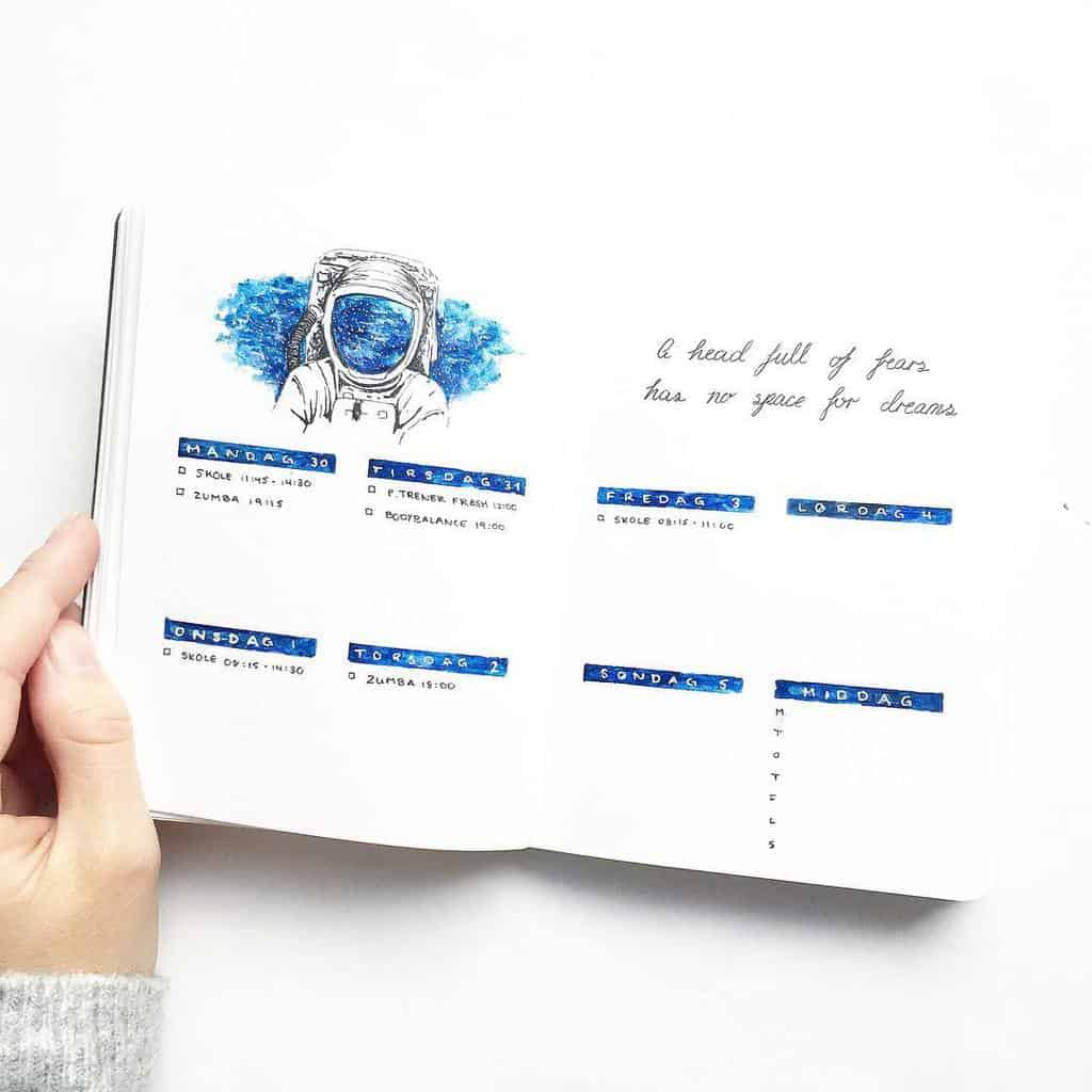 Space and Galaxy Bullet Journal Theme Inspirations - weekly log by @northernplanner | Masha Plans