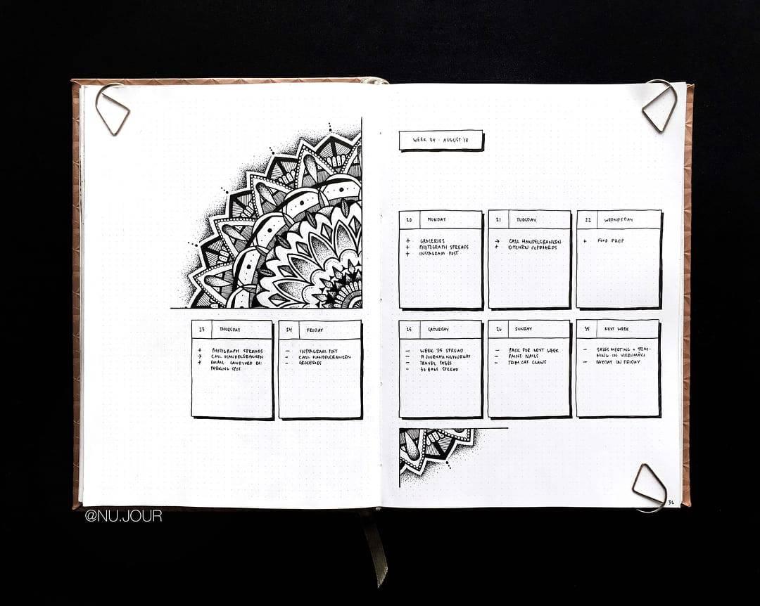 Mandala Bullet Journal Weekly by @nu.jour | Masha Plans