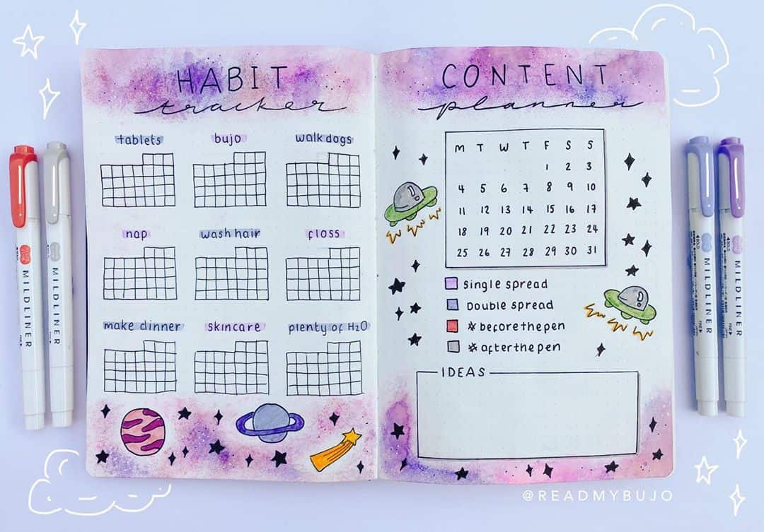 Space and Galaxy Bullet Journal Theme Inspirations - habit tracker by @readmybujo | Masha Plans