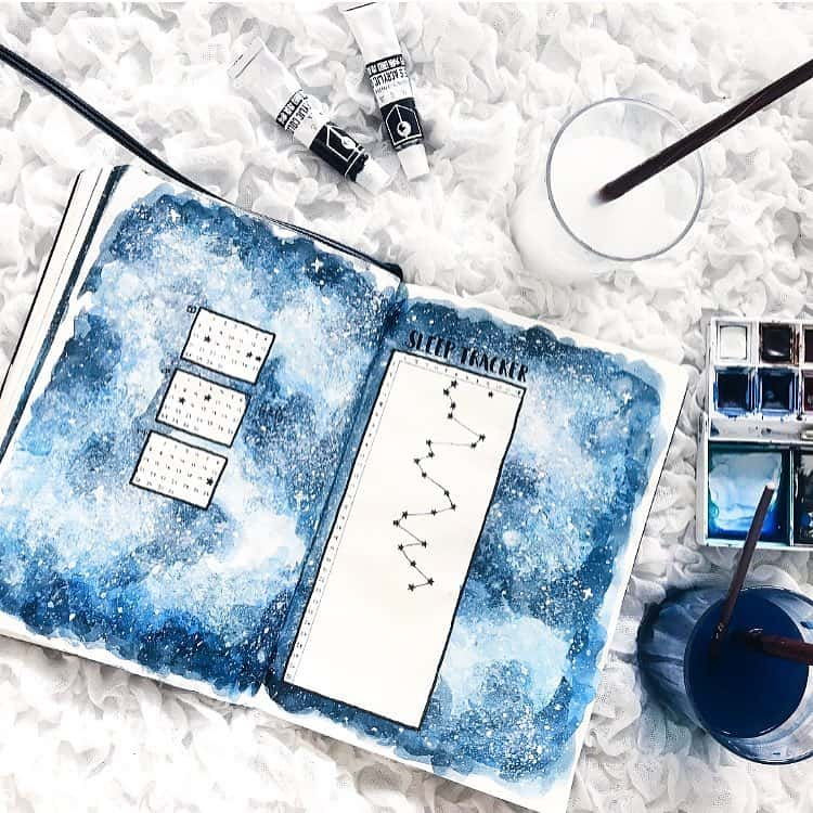 Space and Galaxy Bullet Journal Theme Inspirations - tracker by @rurireu | Masha Plans
