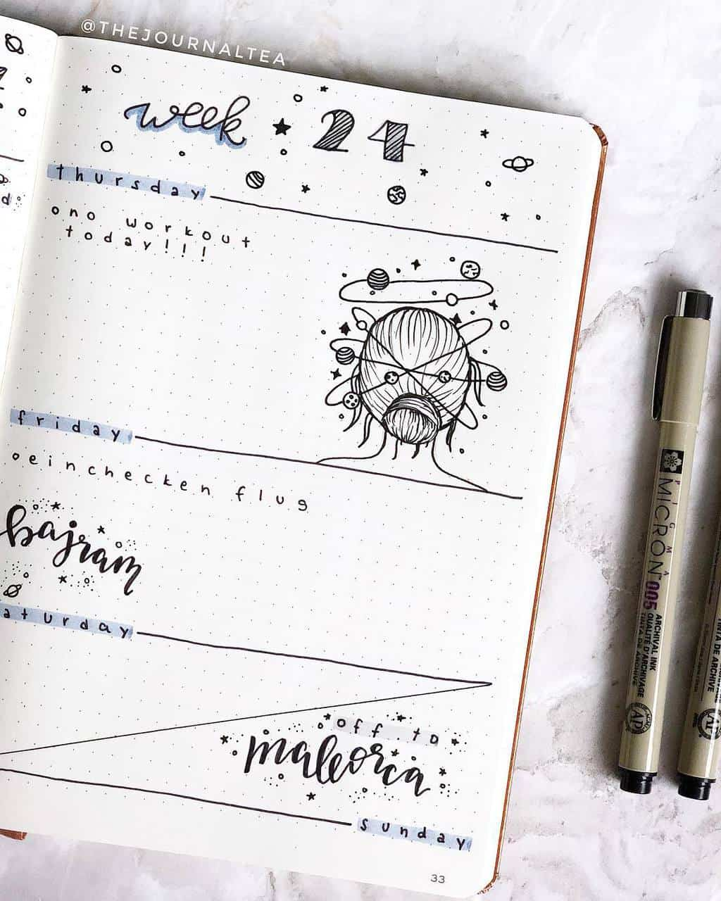 Space and Galaxy Bullet Journal Theme Inspirations - weekly spread by @thejournaltea | Masha Plans