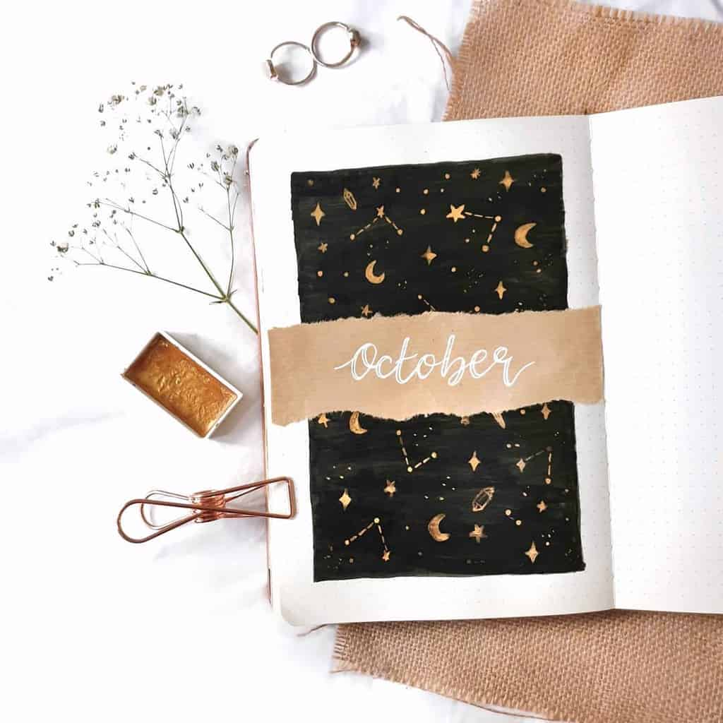 Space and Galaxy Bullet Journal Theme Inspirations - cover page by @whimsical.doodles | Masha Plans