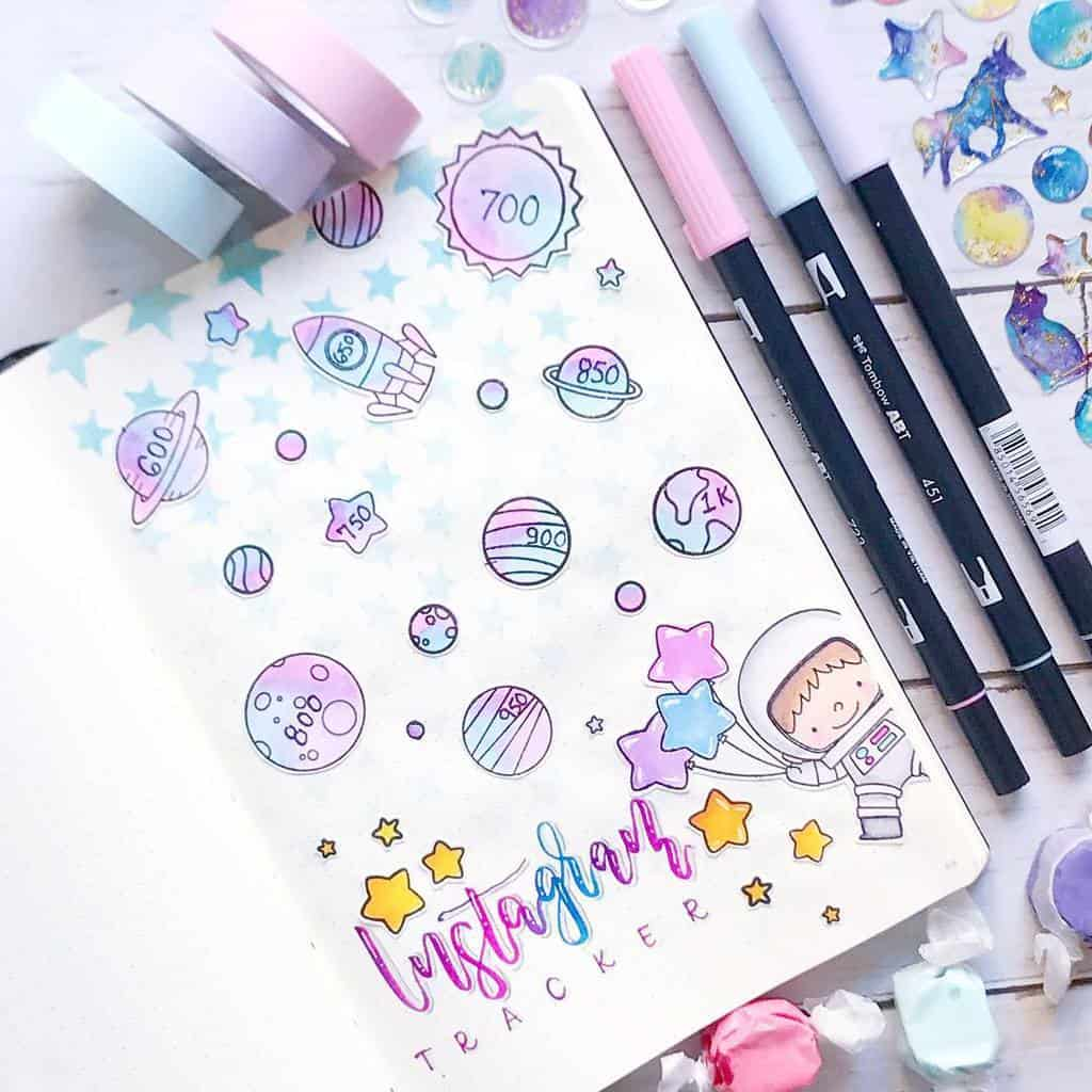 Space and Galaxy Bullet Journal Theme Inspirations - tracker by @xpaperwingsx | Masha Plans