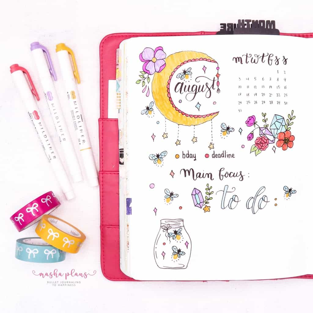 Fireflies Bullet Journal Theme Inspirations - monthly log | Masha Plans