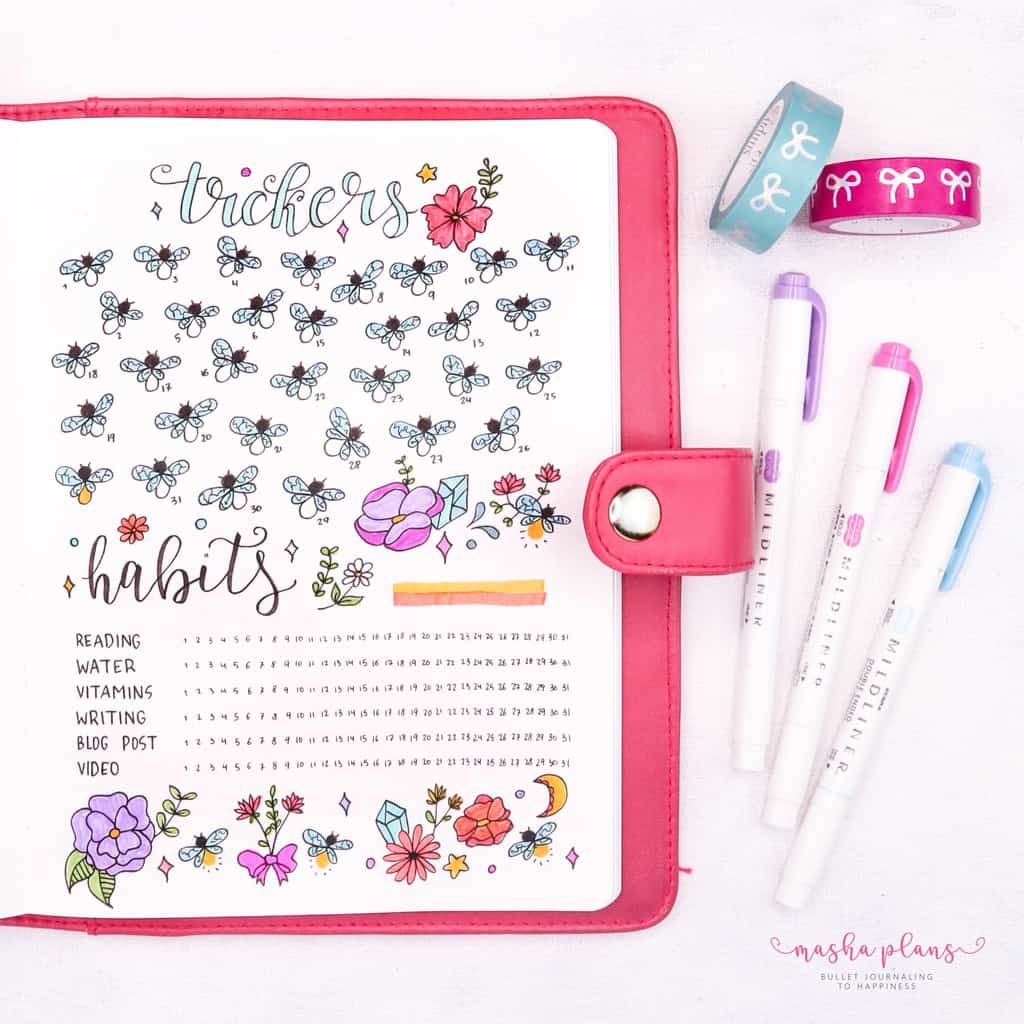 Fireflies Bullet Journal Theme Inspirations - habit tracker, mood tracker | Masha Plans