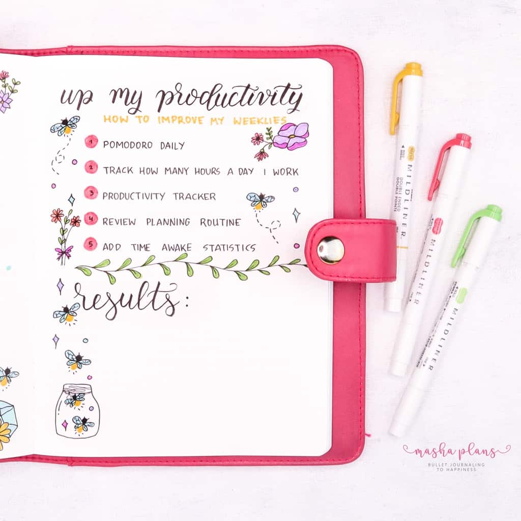 Fireflies Bullet Journal Theme Inspirations - productivity spread | Masha Plans