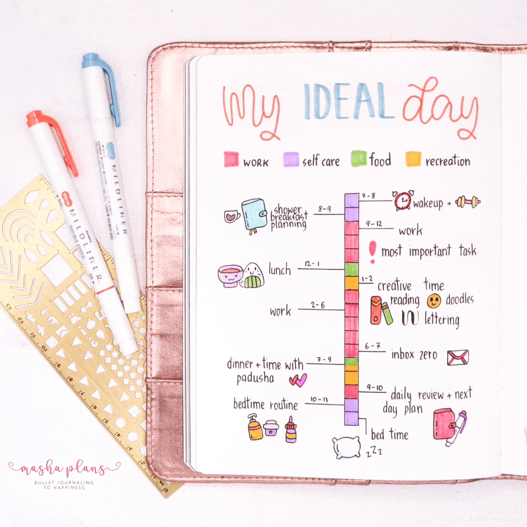 Plan With Me: August Work Bullet Journal Setup - my ideal day | Masha Plans