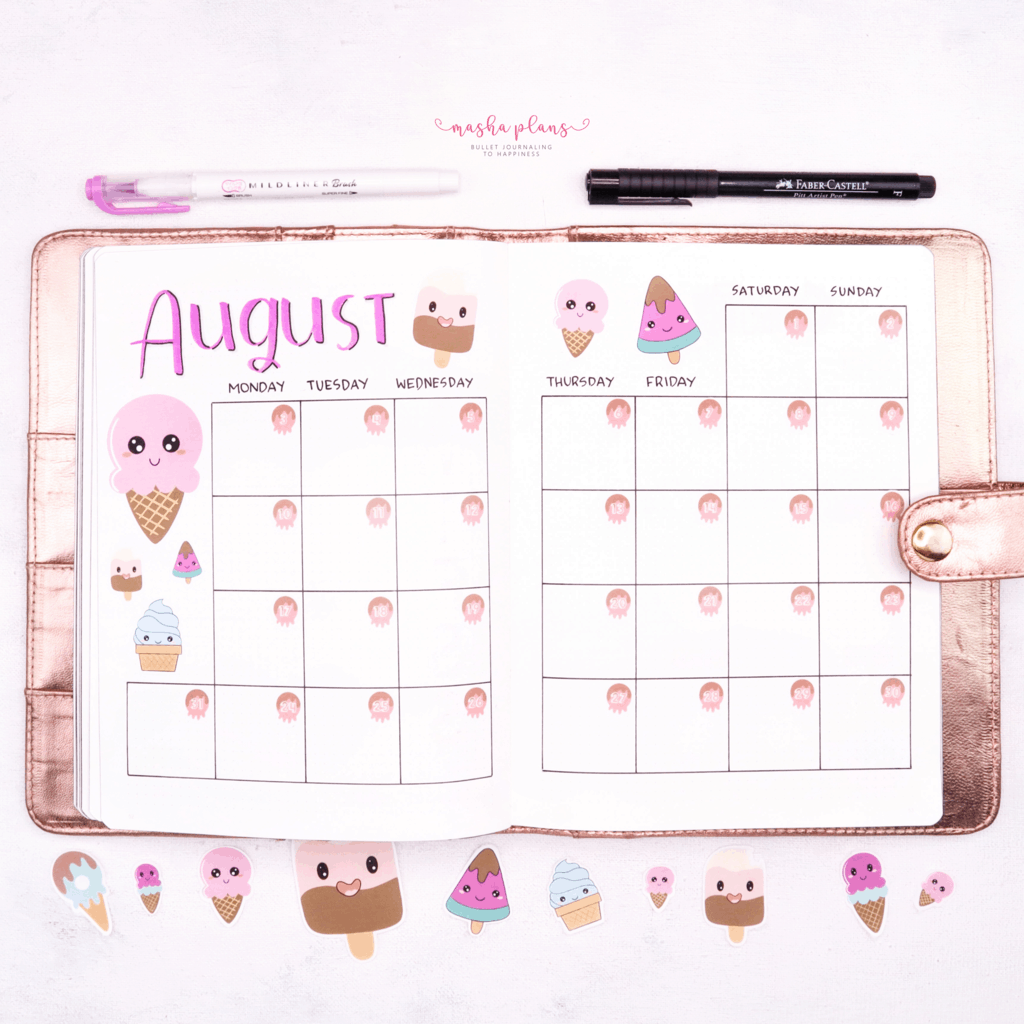 Bullet Journal For Blogging - August Setup - monthly log | Masha Plans
