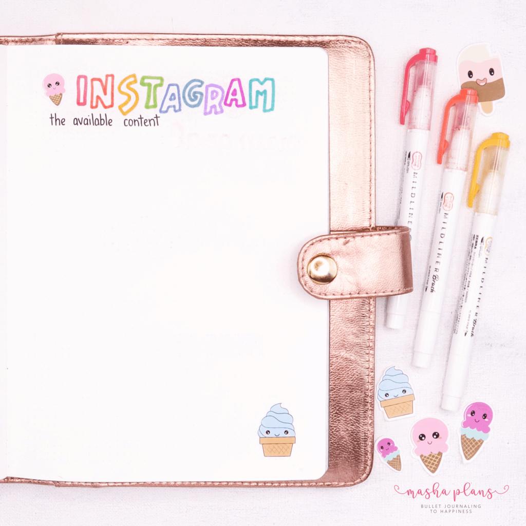 Bullet Journal For Blogging - August Setup - instagram content | Masha Plans