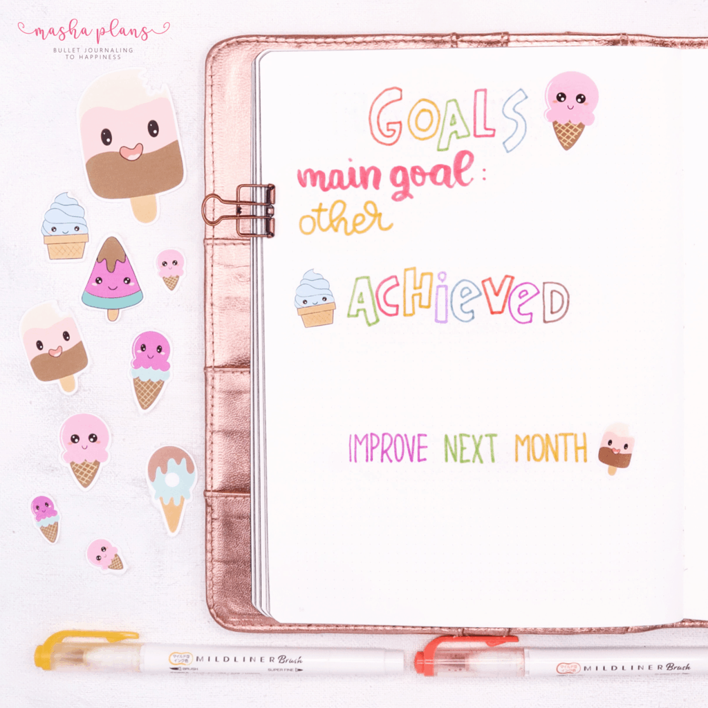 Bullet Journal For Blogging - August Setup - monthly goals | Masha Plans