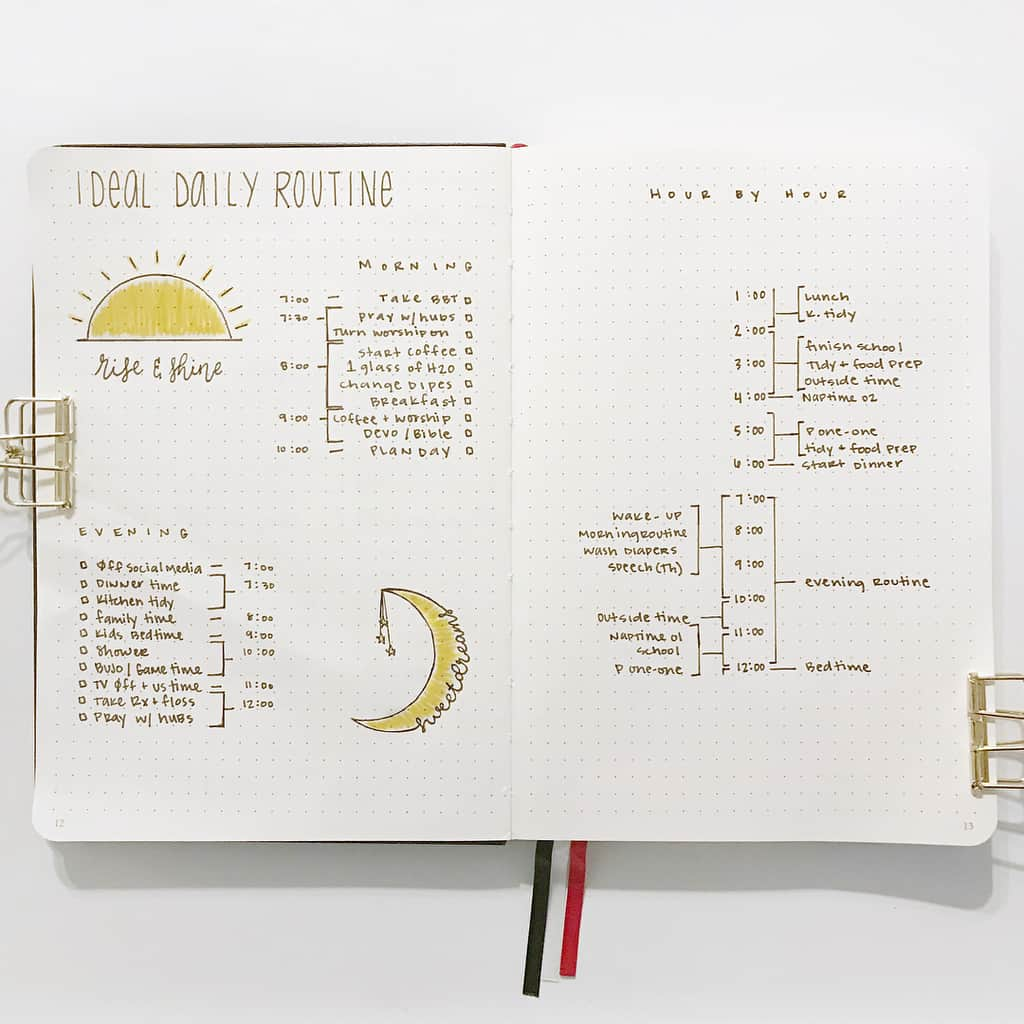 My Perfect Day Routine Spread by @amnystilauren.bujo | Masha Plans