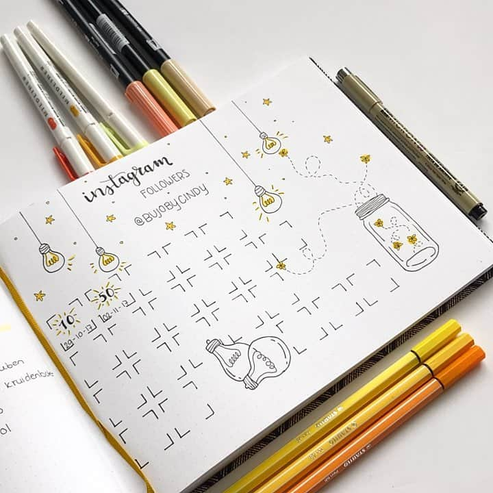 Fireflies Bullet Journal Theme Inspirations - tracker by @bujobycindy | Masha Plans