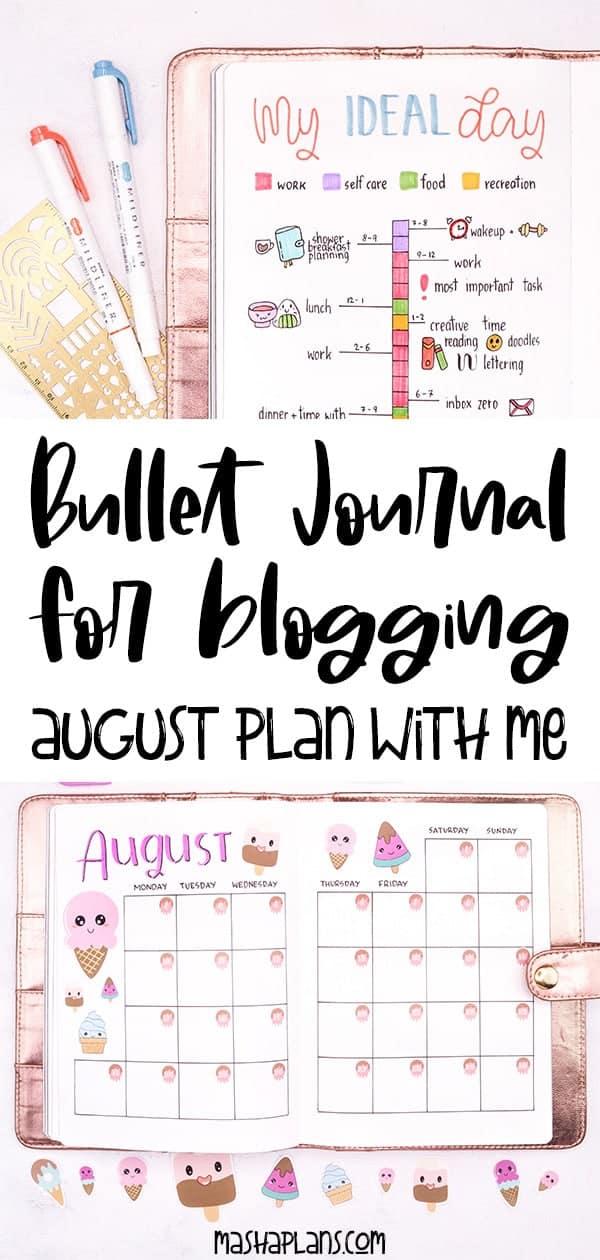 Bullet Journal For Blogging - August Setup | Masha Plans