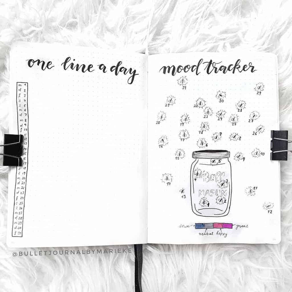 Fireflies Bullet Journal Theme Inspirations - tracker by @bulletjournalbymarieke | Masha Plans