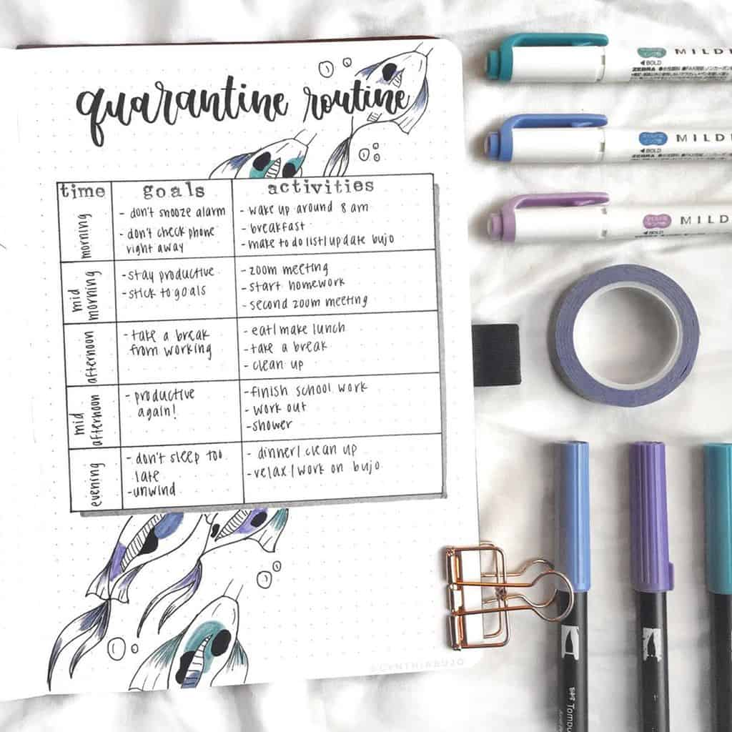 Quarantine Routine Spread by @cynthiabujo | Masha Plans