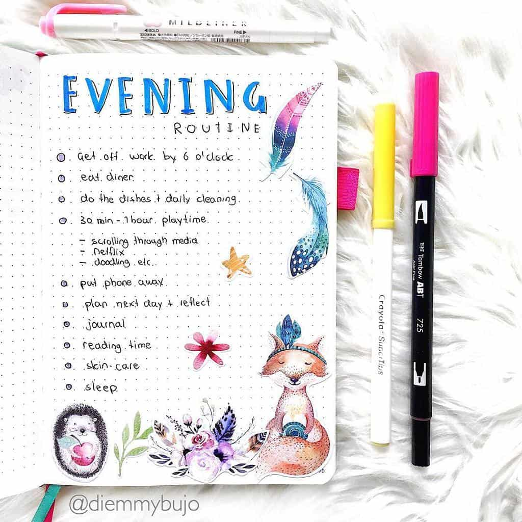 Evening Routine Spread by @diemmybujo | Masha Plans
