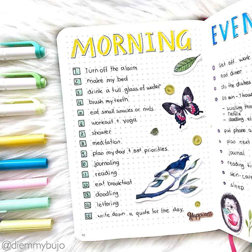 Morning Routine Spread by @diemmybujo | Masha Plans