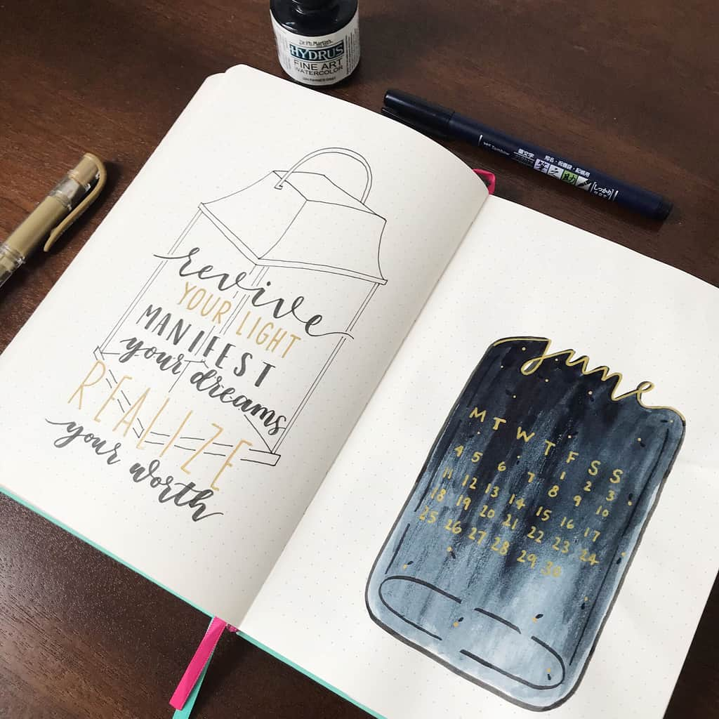 Fireflies Bullet Journal Theme Inspirations - spread by @erinflotodesigns | Masha Plans