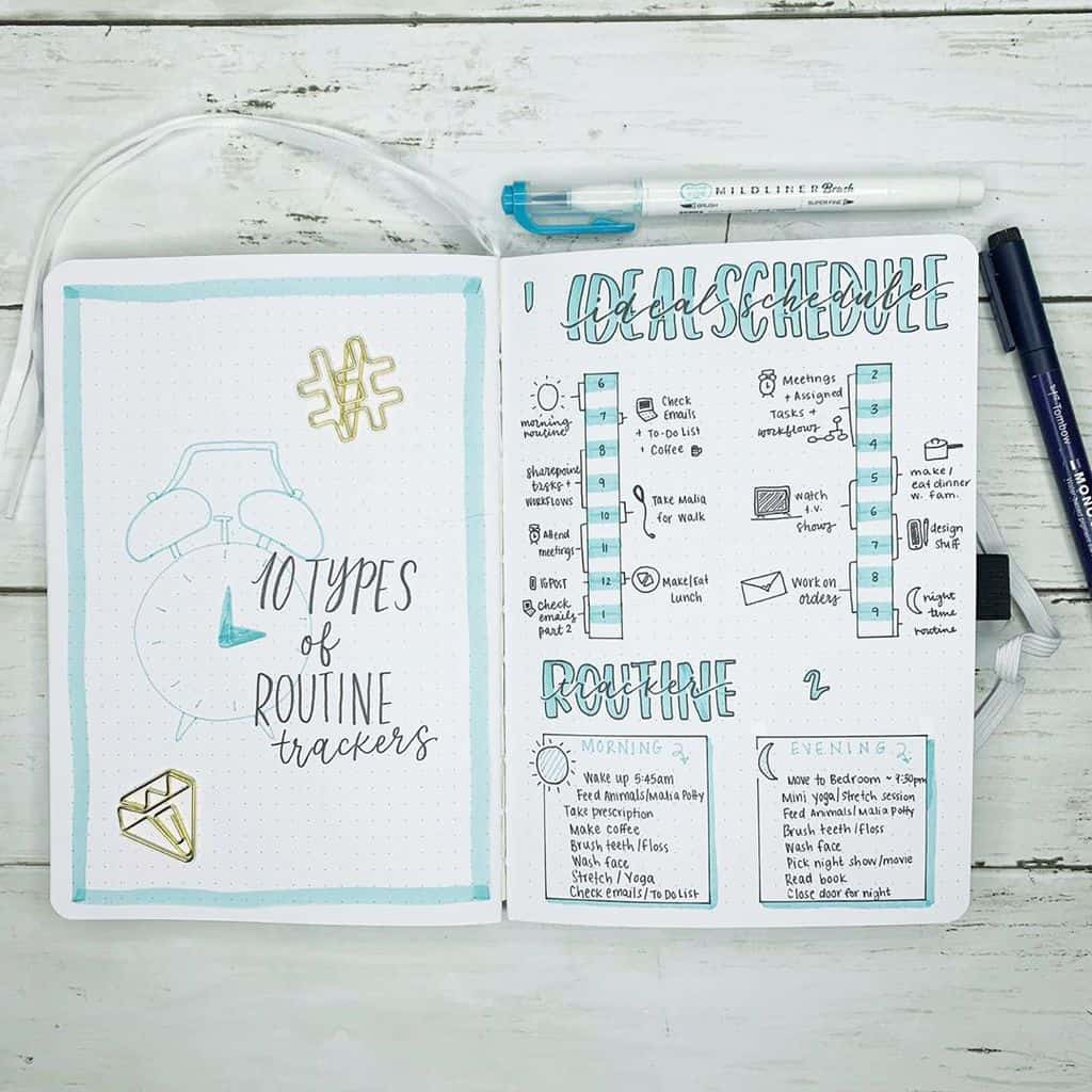 My Ideal Day Routine Spread by @erinoflotodesigns | Masha Plans