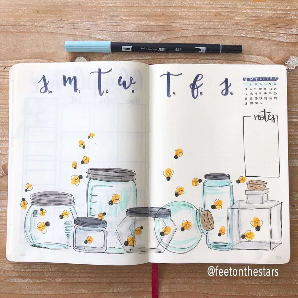 Fireflies Bullet Journal Theme Inspirations - weekly log by @feetonthestars | Masha Plans