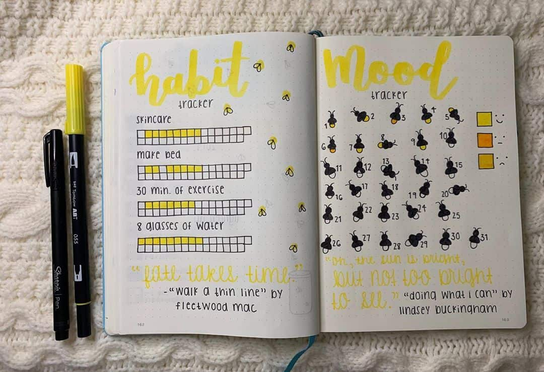 Fireflies Bullet Journal Theme Inspirations - trackers by @journal.with.emily | Masha Plans