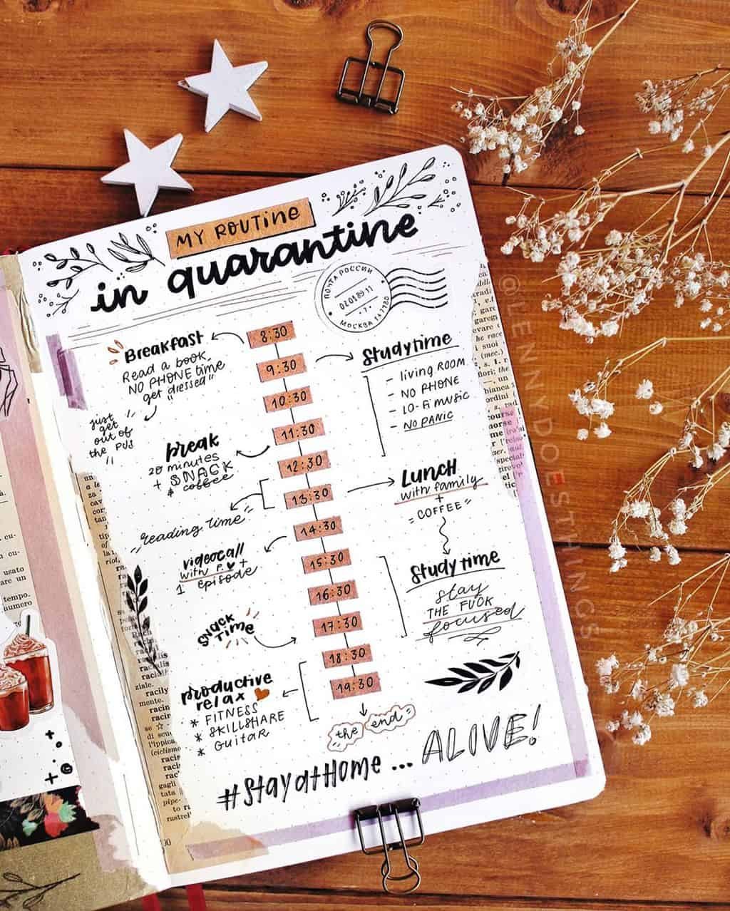 Quarantine Routine Spread by @lennydoesthings | Masha Plans