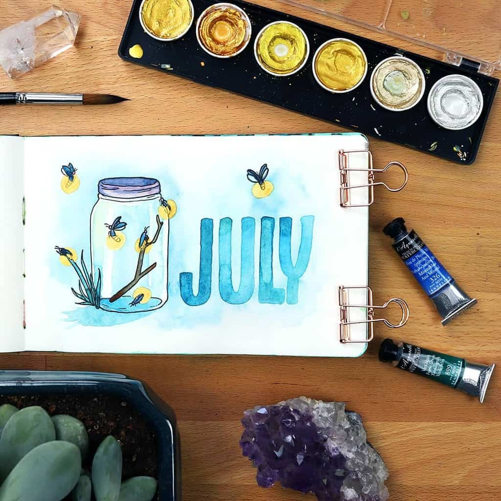 Fireflies Bullet Journal Theme Inspirations - covr page by @little_coffee_fox | Masha Plans