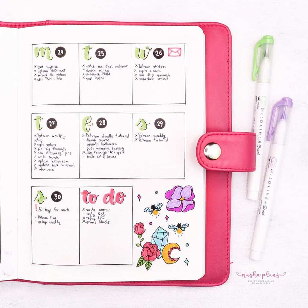 Firefly Bullet Journal Theme Inspirations - weekly spread   Masha Plans