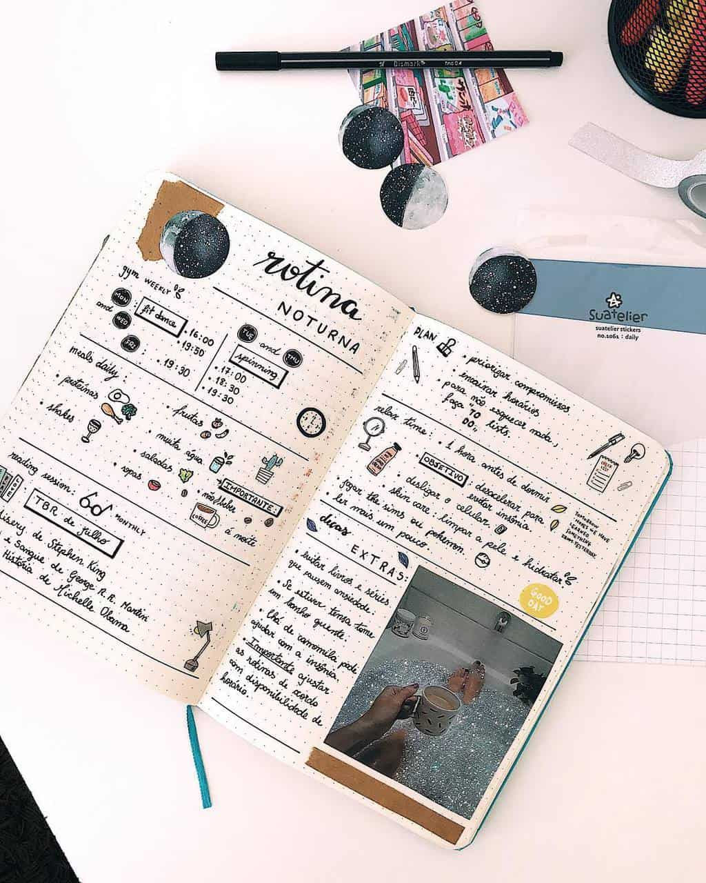 Evening Routine Spread by @meljournals | Masha Plans