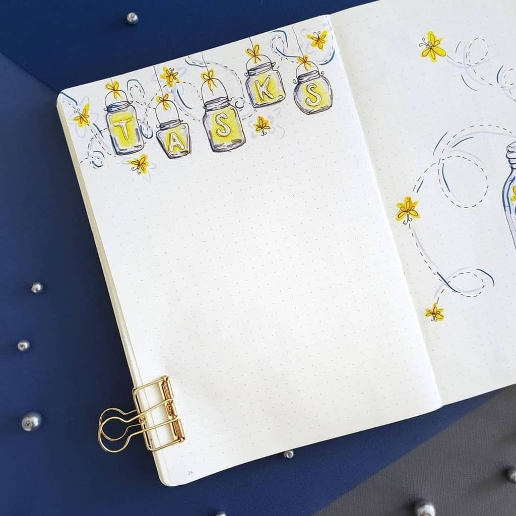Fireflies Bullet Journal Theme Inspirations - list by @mint.and.mont.bujo | Masha Plans
