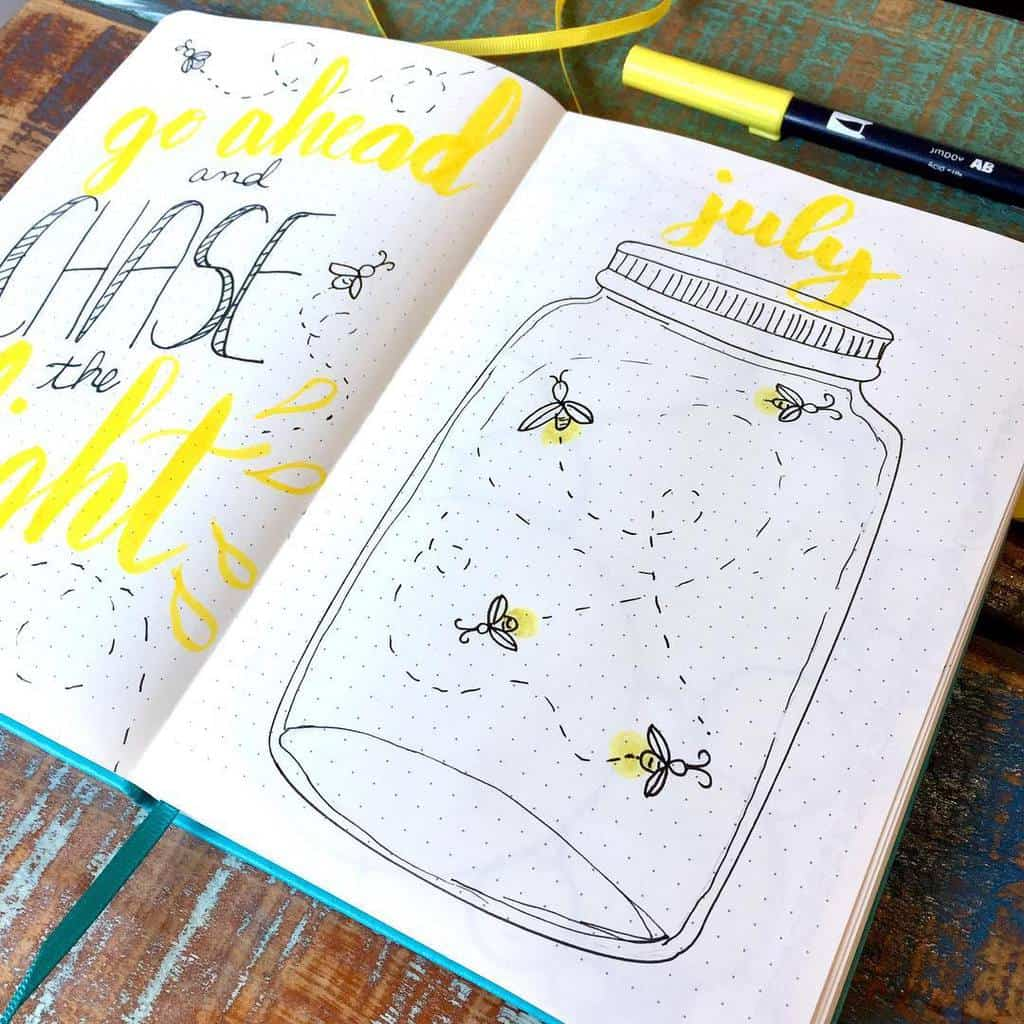 Fireflies Bullet Journal Theme Inspirations - cover page by @moxiedori | Masha Plans